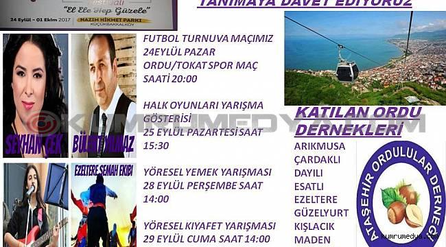 Ataşehir'de Anadolu Kültürleri Festivalinde Ordulular buluşuyor..